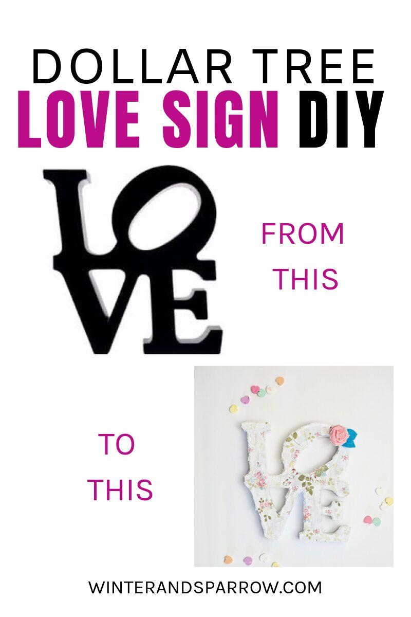 Dollar Tree Love Sign DIY: From Plain to Pretty [VIDEO]   winterandsparrow.com #dollartreelovesigndiy #dollartreecrafts #dollartreecraftprojects