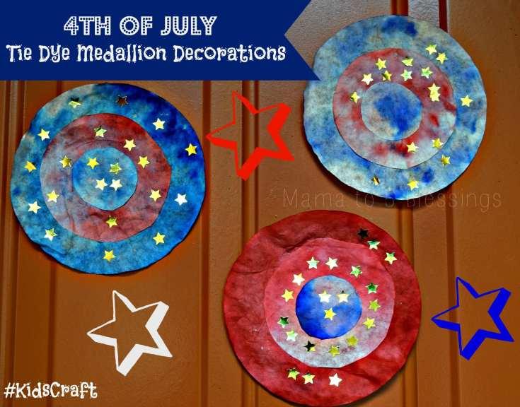 4th of July Tie Dye Medallion Decorations #KidsCraft
