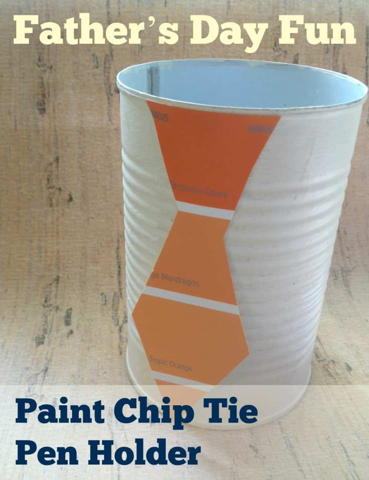 Father's Day Craft: Paint Chip Tie Pen Holder