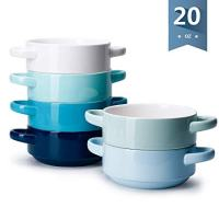 Sweese 108.003 Porcelain Bowls with Handles - 20 Ounce for Soup, Cereal, Stew, Chill, Set of 6, Cold Assorted Colors