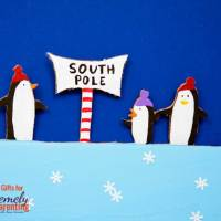 Upcycle a box into this brilliantly beautiful south pole children's book scene.