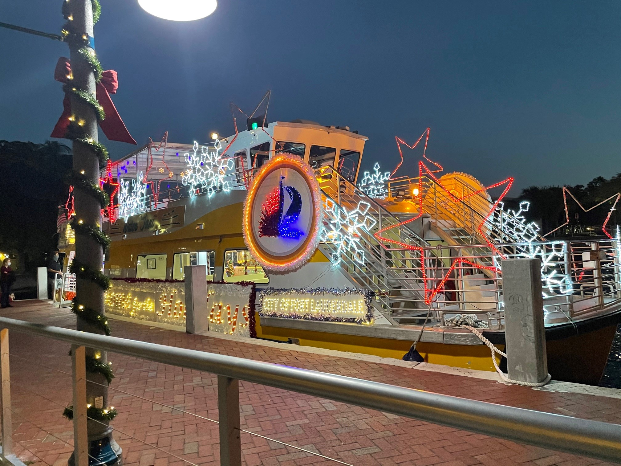 Fort Lauderdale Water Taxi decorated with Christmas lights