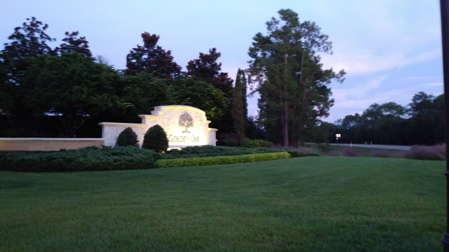 Golden Oak Entrance Sign.  Disney World Gated Luxury Community at The Four Seasons.