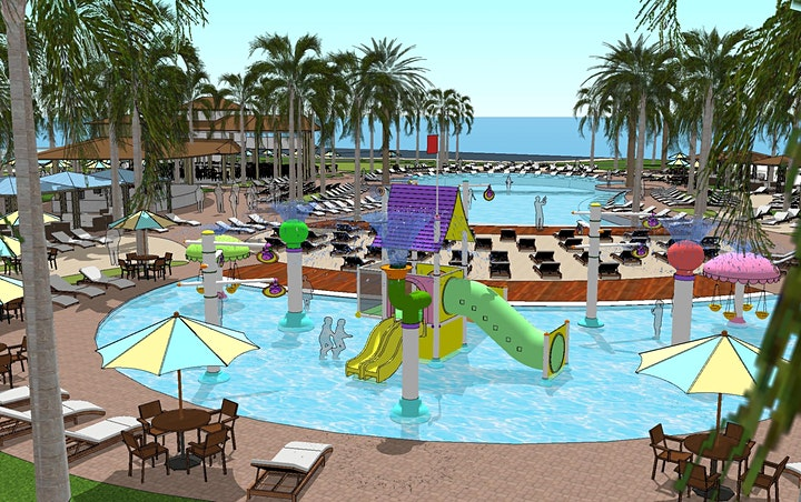Margaritaville sunset walk pool and cabana waterpark early render