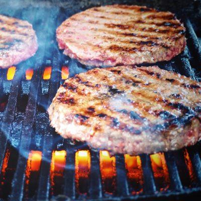 Burger patty on grill