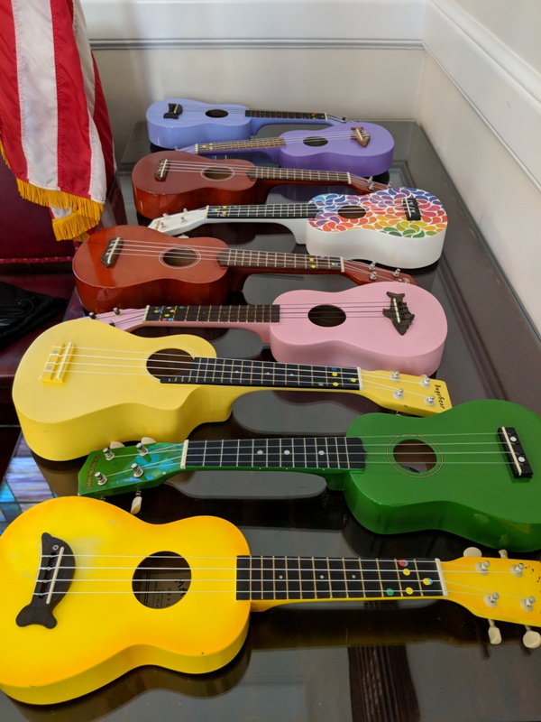 The ukuleles of the children's choir.