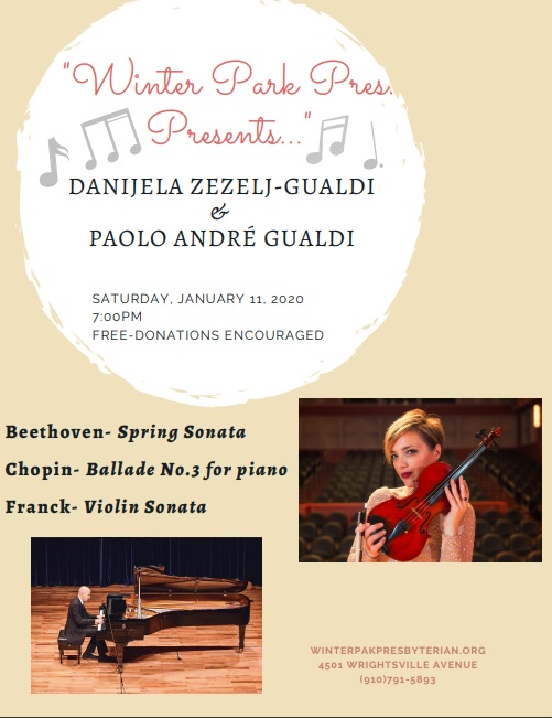 Danijela Zezeji-Gualdi and Paolo Andre Gualdi in Concert at WPPC Saturday, January 11th 2020 at 7pm Free - Donations Encouraged