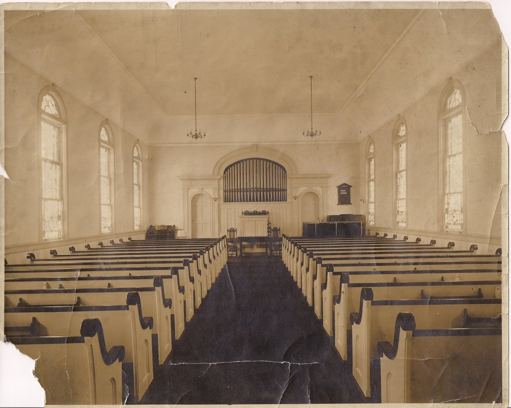 The Interior of WPPC's Sanctuary, Circa 1916 In 1939 this building burned to the ground and the present sanctuary was built to the original design.