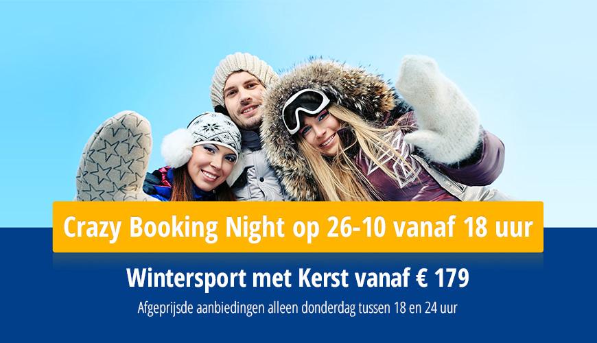 Wintersport met kerst v.a. € 179 p.p, Crazy Booking Night