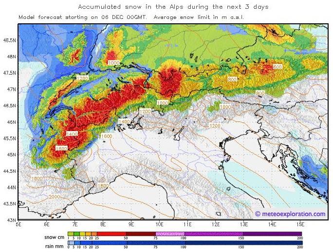 3-daagse sneeuwverwachting wintersport 6 december 2011