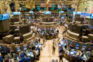 An aerial view of the New York Stock Exchange's tr