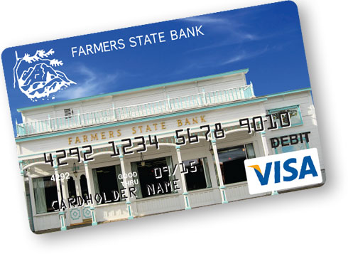 image of a debit card from farmers state bank