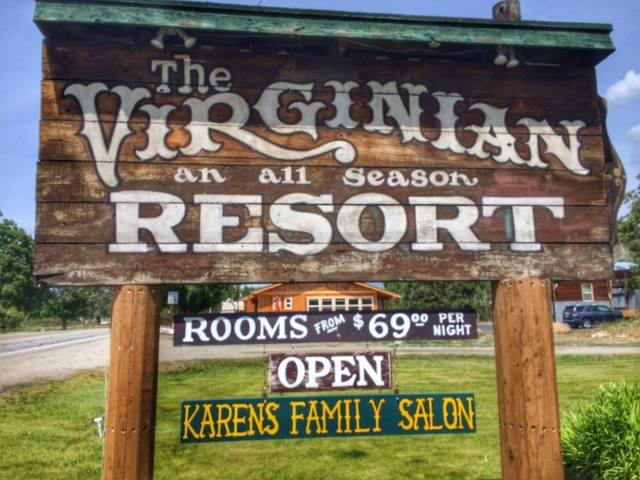 The Virginian wood sign