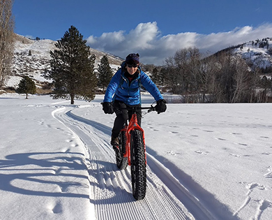 fat bike in winthrop washington winter wonderland