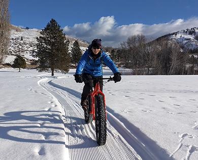 fat bike in winthrop washington winter wonderland