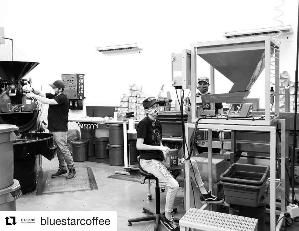 Blue Star Coffee Roasters Safe Start COVID Coronavirus be an outlaw wear a mask mask up