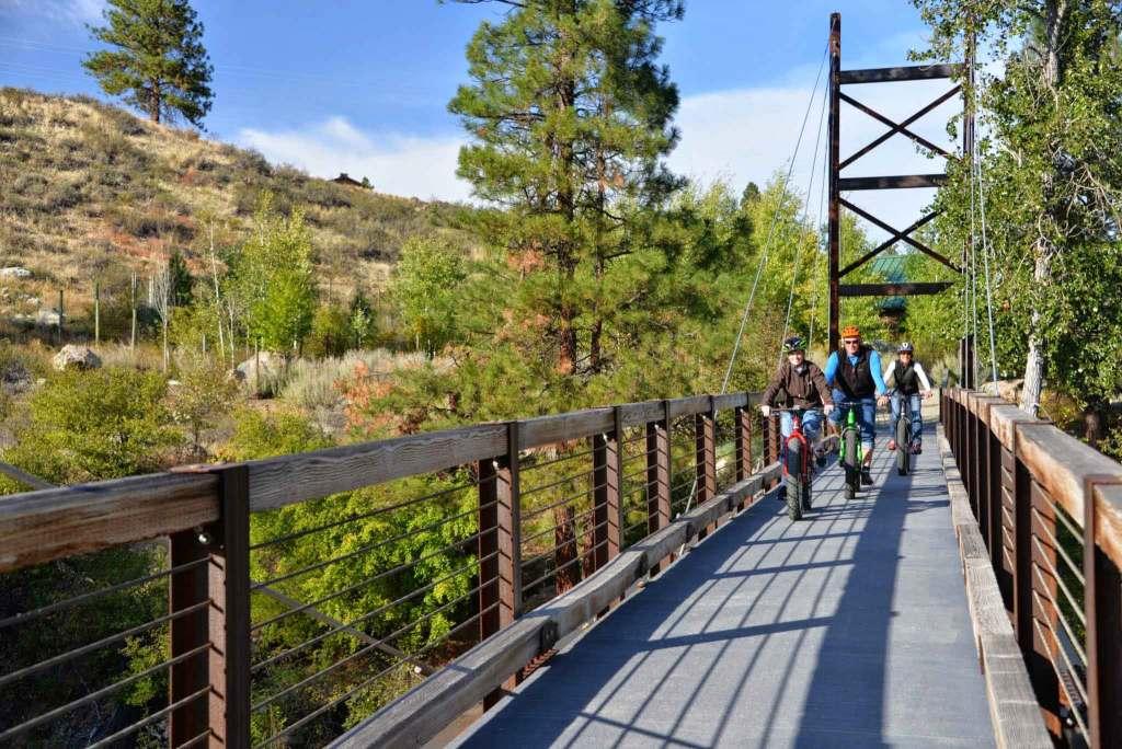SaTeekhWa Bridge in Winthrop Washington Fat Biking sunny day