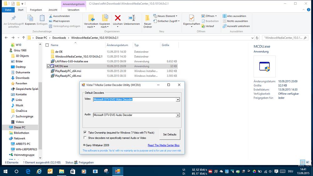 Windows Media Center Windows 10 MCDU