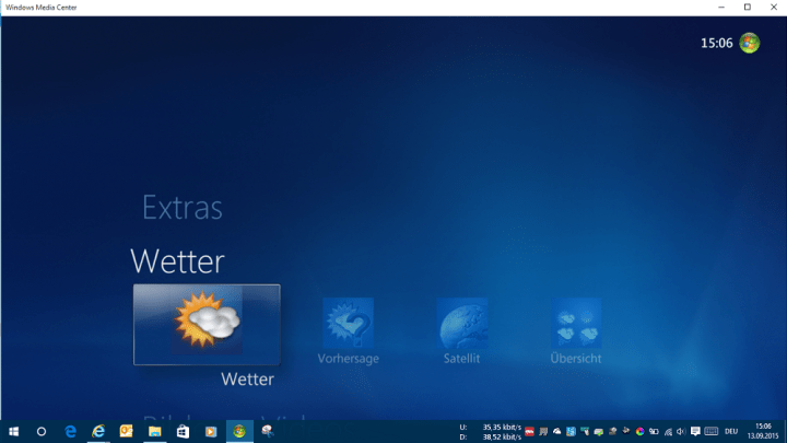 Windows Media Center Windows 10 MCE Wetter