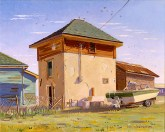 """""""Sparrows Soaring Over Tank House"""" by Daphne Wynne Nixon"""