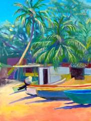 """""""Fishermans' Beach"""", oil, 9"""" x 12"""" by Daphne Wynne Nixon"""