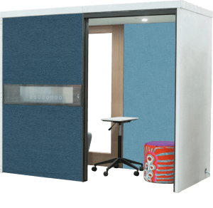 blue booth with ottoman