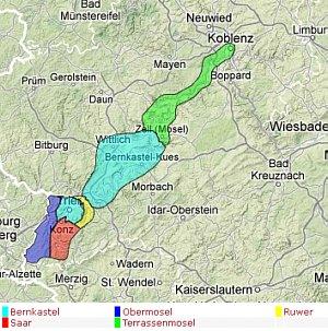 """Weinlagen / Bereiche im Anbaugebiet """"Mosel"""""""
