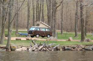 Great camping right on the water makes for an easy spot to launch a kayak.