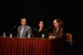 One in a Billion presenters Daniel Helbling, Amylynne Santiago Volker and Kathleen Gallagher in panel discussion.