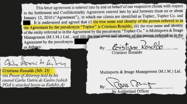Filtran un acuerdo firmado por Cristiano Ronaldo y Kathryn Mayorga Documento-Cristiano-Ronaldo-1539016098