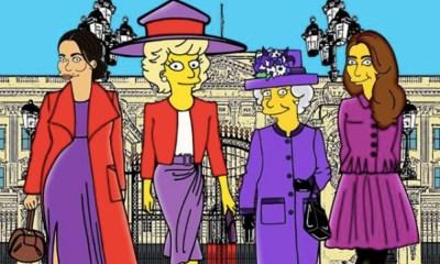 familia real al estilo de 'The Simpsons'