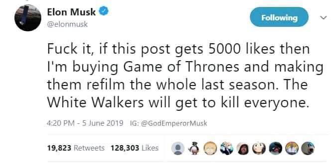 Elon Musk quiere comprar 'Game of Thrones' para cambiar el final d8eygwlxsaagijr_g4yp