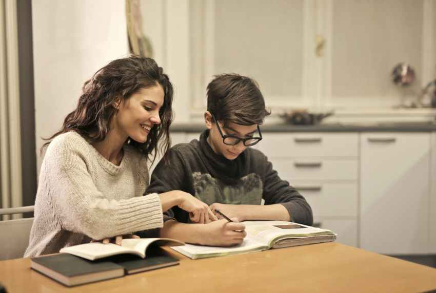 elder sister and brother studying at home