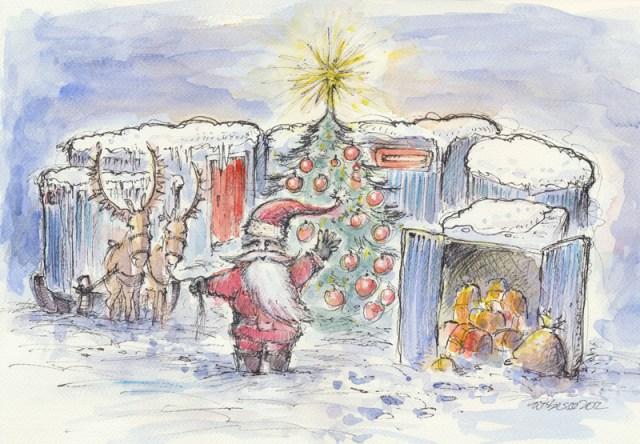 Weihnachtskarte für Bauwagenservice mit Rentieren und Weihnachtsmann