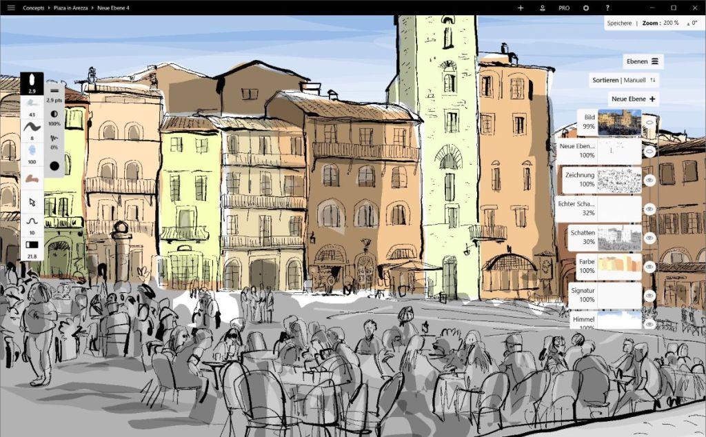 Zeichnen auf dem Microsoft Surface 18