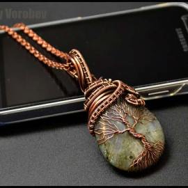 The tree of life of wire and stone. Wire wrap Jewelry tutorial