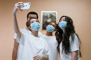 young health workers taking a group selfie