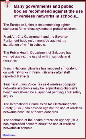 governments and public bodies advise against wireless networks in schools