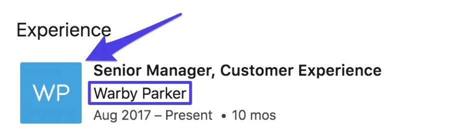 LinkedIn page profile experience