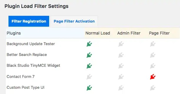 Plugin Load Filter settings