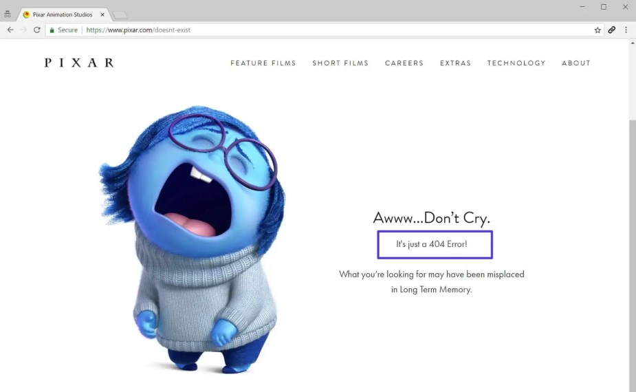 Funny 404 page example