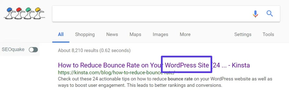 SEO title in SERPs