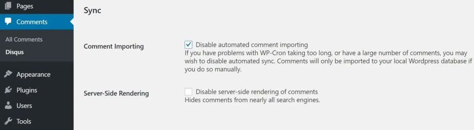 disable automatic sync disqus