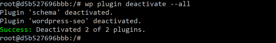 WP-CLI deactivate all plugins