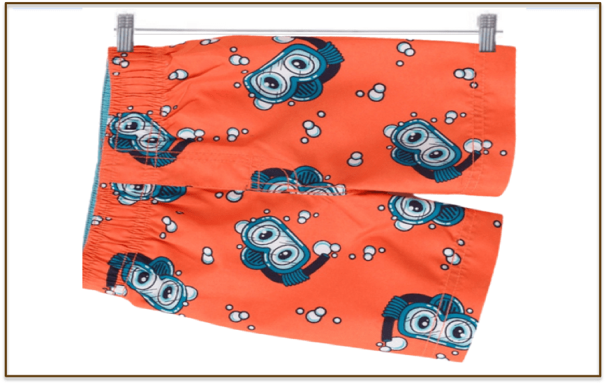 A pair of boys swim trunks printed with fish wearing snorkeling goggles