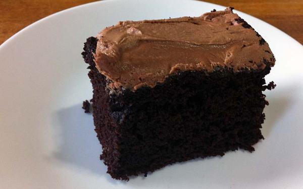 slice of devil's food cake