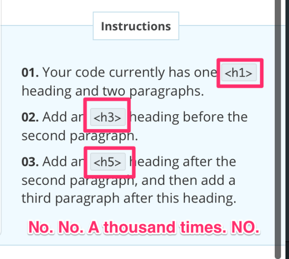 "HTML 101: headings are not about ""sizes"""