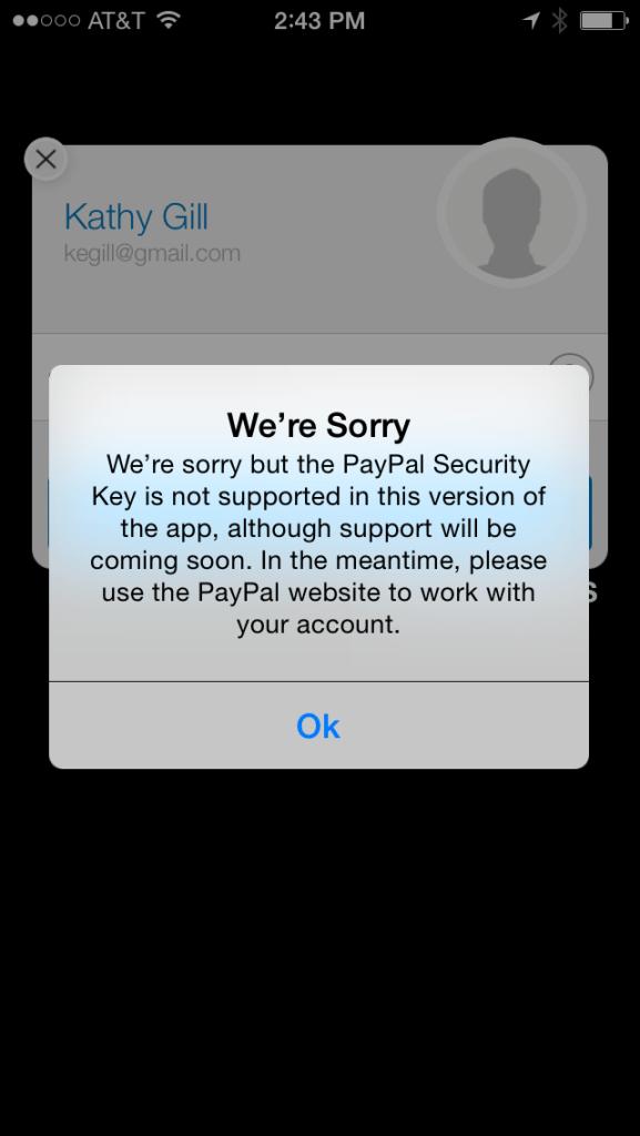 PayPal app fail
