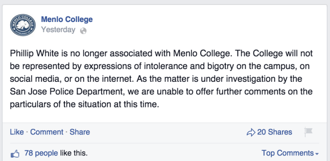 Phillip White Menlo College Facebook