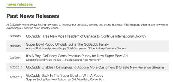 GoDaddy news releases